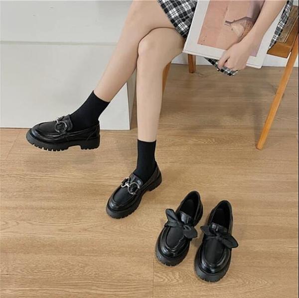 皮鞋 小皮鞋女2020年夏季新款百搭厚底松糕鞋樂福鞋