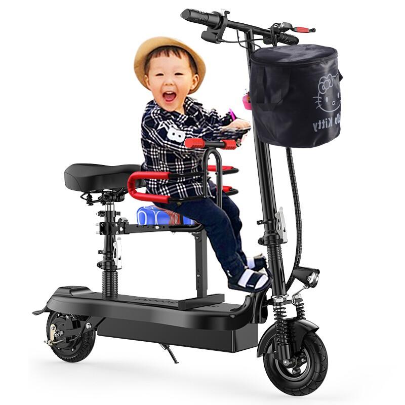 【免運】奧塞奇 osagie電動車小海豚無刷時尚電動滑板車48V鋰電池迷你代步車助力車接送孩子高續航靜音電機黑色