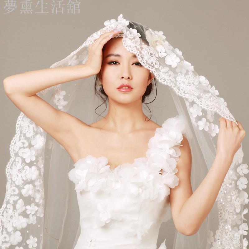 【夢熏生活舘】韓式蕾絲花瓣頭紗新款新娘婚紗禮服配件3米超長拖尾軟頭紗