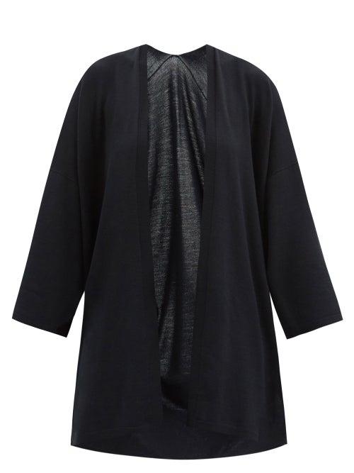 Wolford - Aurora Longline Wide-sleeve Wool Cardigan - Womens - Black