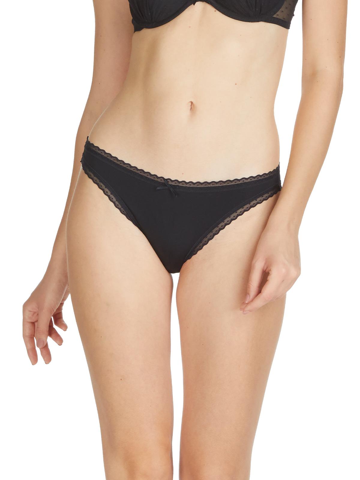 MARLIE SOLID, 纖維 & 圓點網紗低腰三角內褲