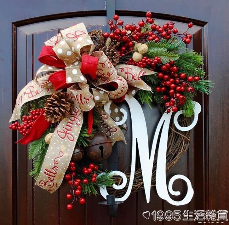 圣誕節裝飾品木質藤編圣誕花環美式球花圈民宿酒店櫥窗蝴蝶結門掛