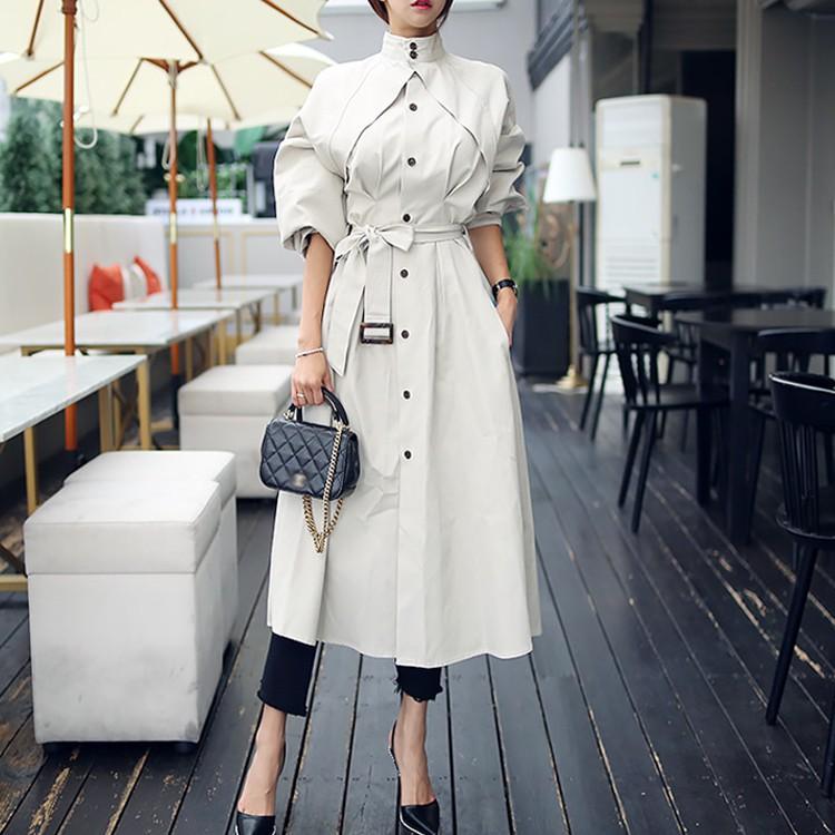 S-2XL 港風外套秋季2020新款時尚收腰風衣式連衣裙chic風衣女中長款