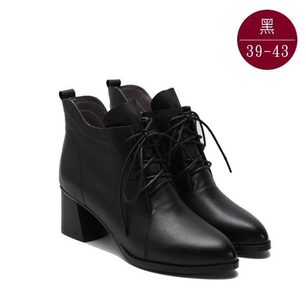 中大尺碼女鞋 真皮梯形粗跟綁帶短靴 39-43碼 172巷鞋舖【NTS88805】黑