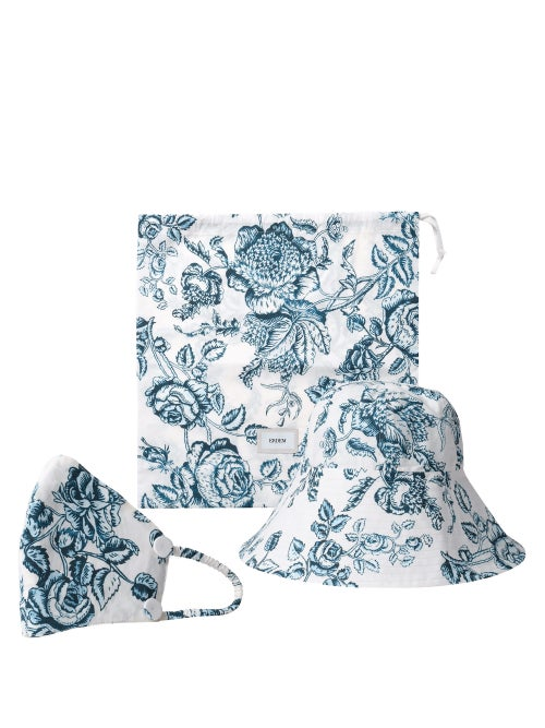 Erdem - Floral-print Bucket Hat And Face Covering - Womens - Blue White