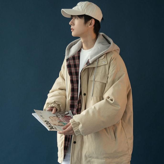2020新款假兩件棉襖男冬季加厚面包服男韓版學生寬松大碼棉服男潮56