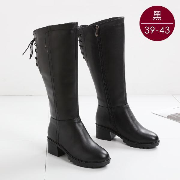 中大尺碼女鞋 真皮羊毛保暖綁帶粗跟長靴/粗跟長靴 39-43碼 172巷鞋舖【NAL88049】