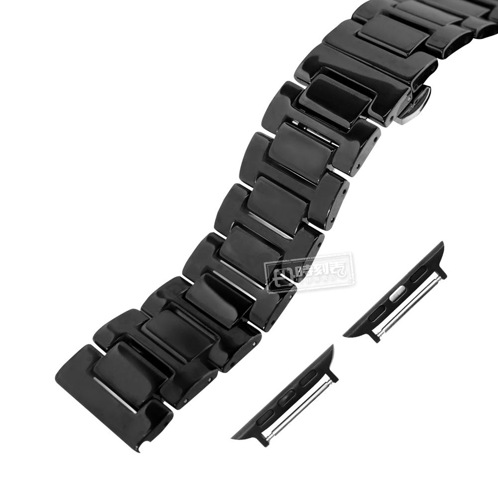 Apple Watch / 38.40.42.44mm / 蘋果手錶替用錶帶 亮麗陶瓷 蝴蝶雙壓扣 陶瓷錶帶 黑色 #836-51-BK