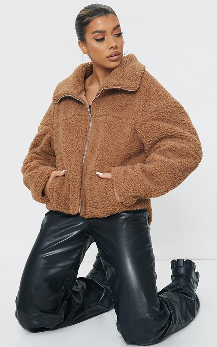 Camel Zip Front Oversized Borg Jacket