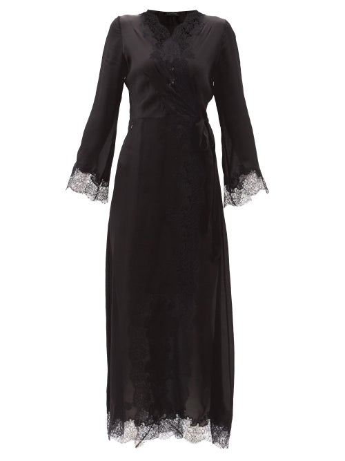 Carine Gilson - Skyfall Lace-trimmed Silk-satin Robe - Womens - Black