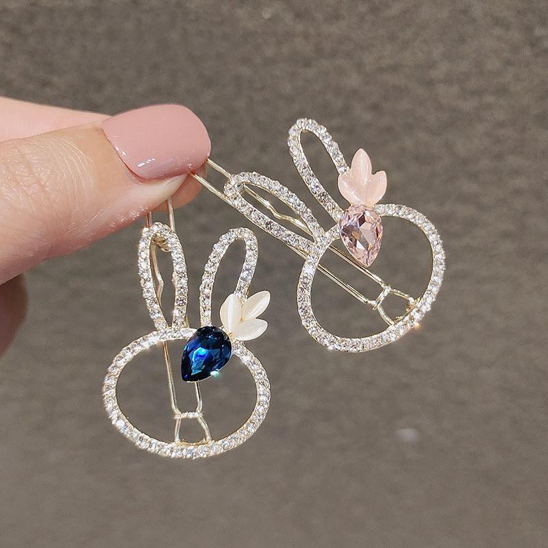 韓國少女髮夾可愛兔子青蛙扣水鑽邊夾劉海發卡氣質頂夾頭飾