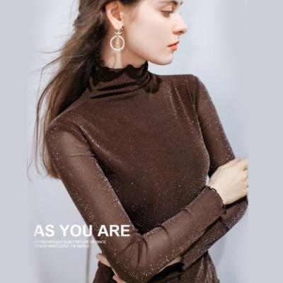 專注內搭-滾邊高領內搭長袖T恤性感透視閃光絲網紗上衣(三色M-3XL可選)