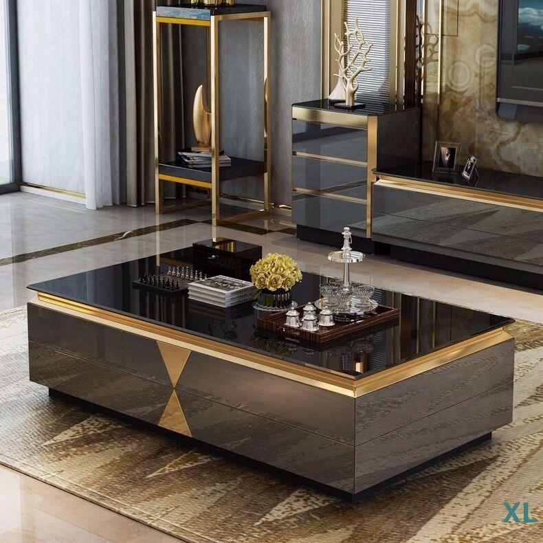 【西里傢具城】后現代輕奢茶幾電視柜客廳大小戶型鋼化玻璃茶幾電視柜組合整裝