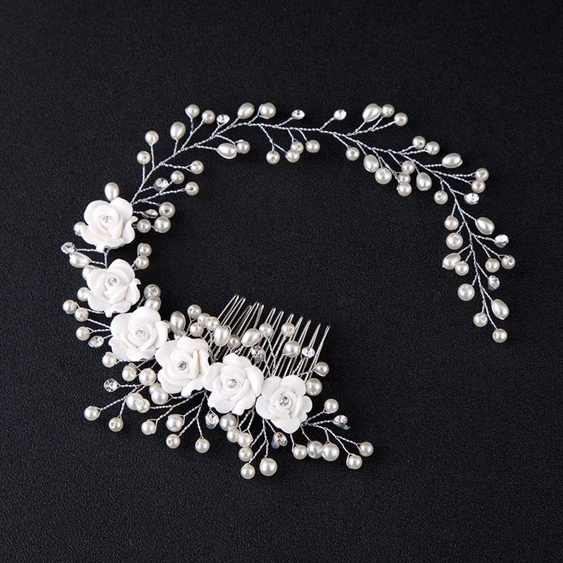 │好貨秒殺│新娘白色花朵手工串珠發繩頭飾結婚發飾品婚紗禮服軟鏈發條珠花環