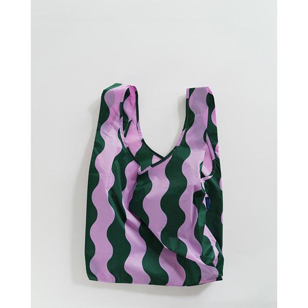 《BAGGU》口袋購物袋(M)-粉綠波浪