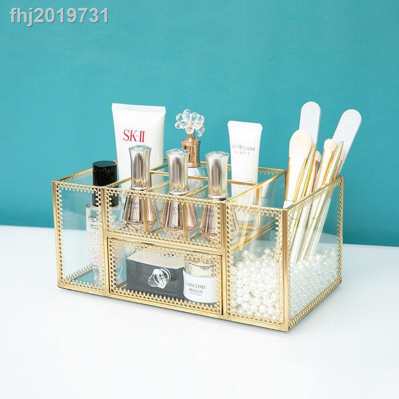 fj 現貨 下殺 新款網紅ins美甲收納盒玻璃護膚化妝品收納盒筆刷搓條工具桌面置物盒