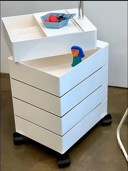 床頭櫃 360旋轉櫃子可移動床頭櫃沙發邊櫃儲物櫃簡約抽屜化妝品收納櫃