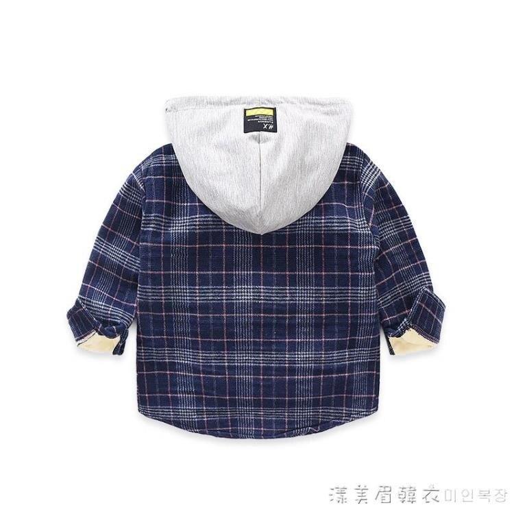 男童連帽加絨襯衫2020秋裝新款冬季兒童裝韓版格子寶寶長袖襯衣潮 秋冬新品特惠