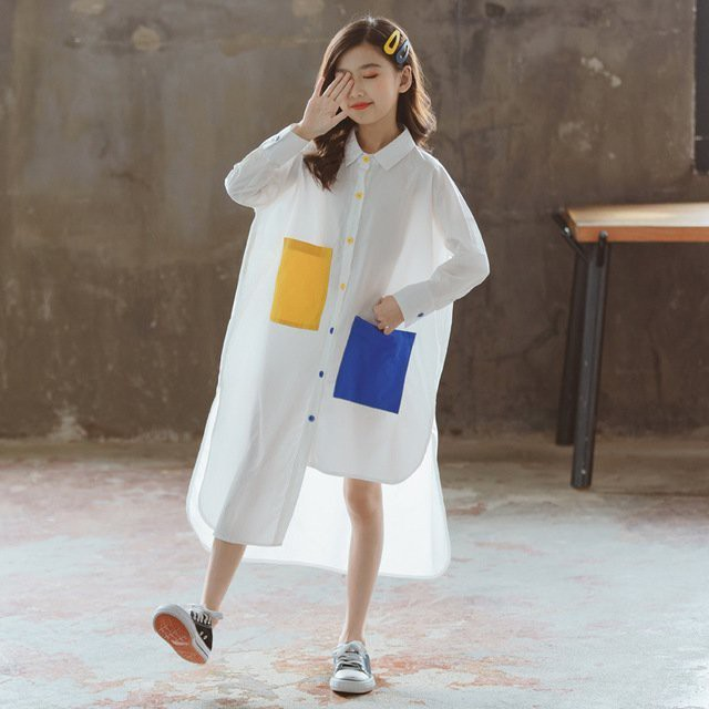 iKIDS♬2020秋季 新款 韓版 女童 中童 大童 貼布設計 有型獨特 白色 襯衫裙 連衣裙 親子裝(預購)