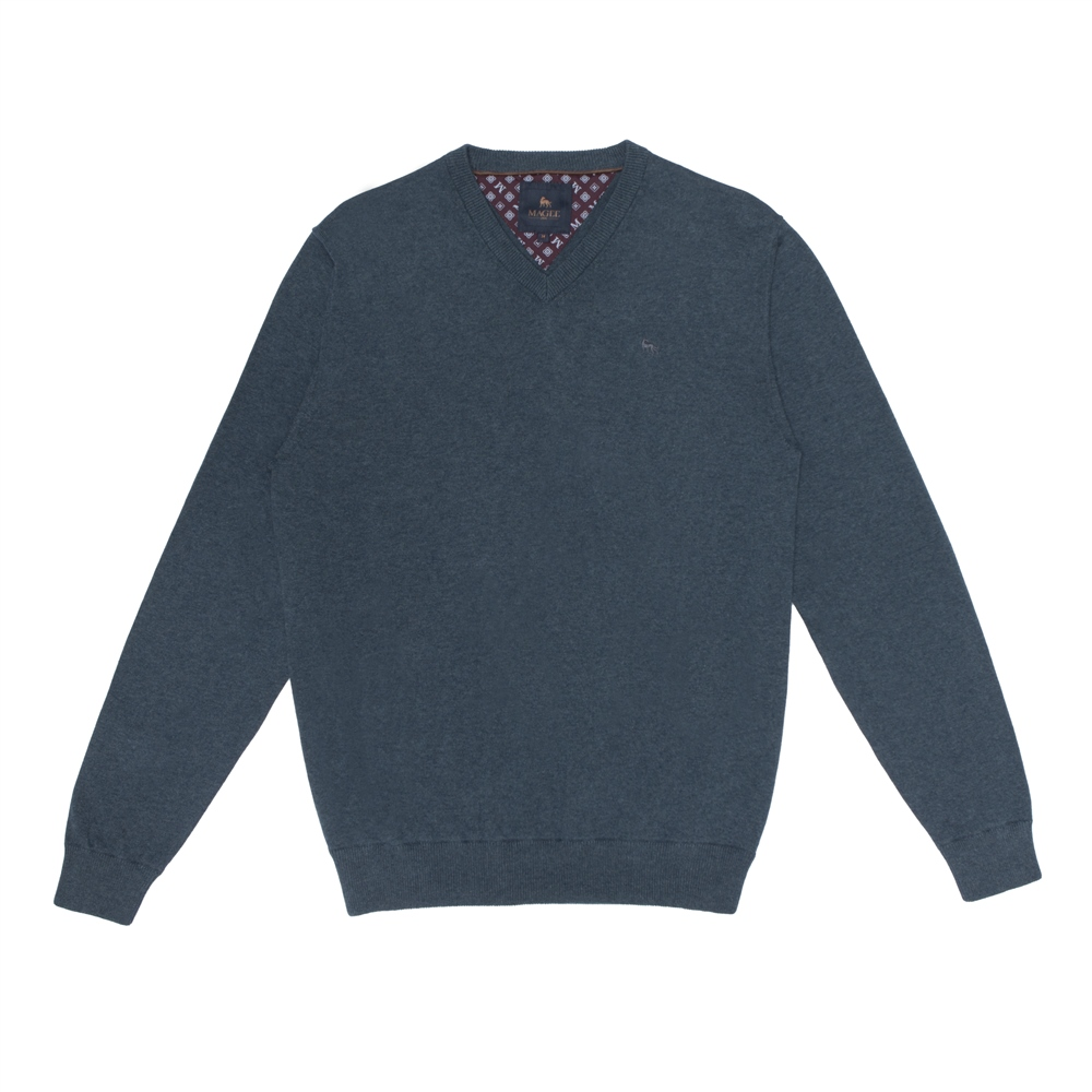 Magee 1866 Turquoise Carn Cotton V Neck Jumper