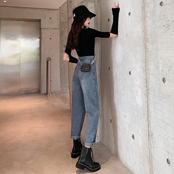 促銷九折 秋季新款設計感復古高腰牛仔褲女水洗寬松顯瘦百搭直筒褲卷邊長褲