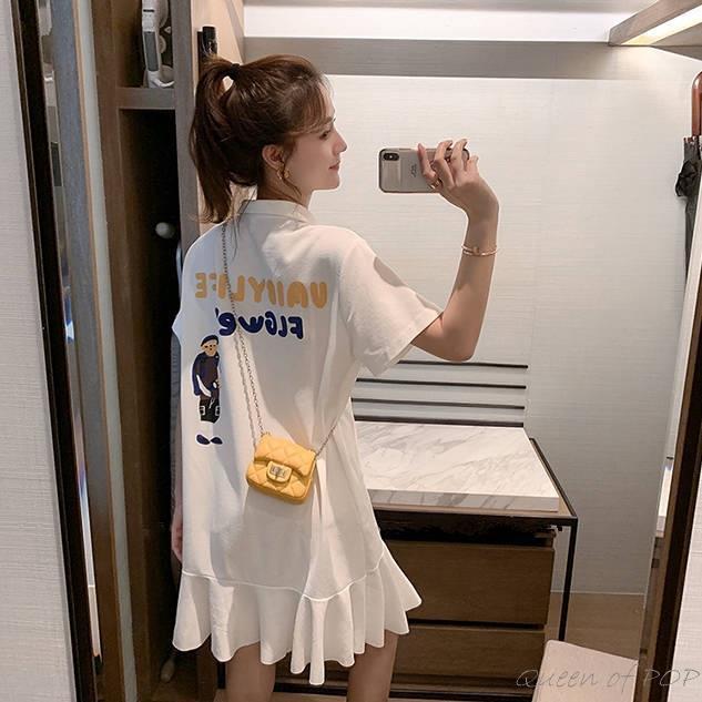 女生洋裝 短袖洋裝 洋裝 中長款連衣裙女學生韓版寬松Polo領仙女小清新學院風印花百褶裙