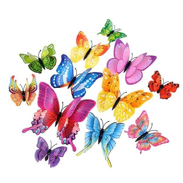 貼畫 3d立體仿真蝴蝶墻貼客廳臥室兒童房間墻面裝飾品墻上自粘冰箱貼畫TW【快速出貨八折鉅惠】