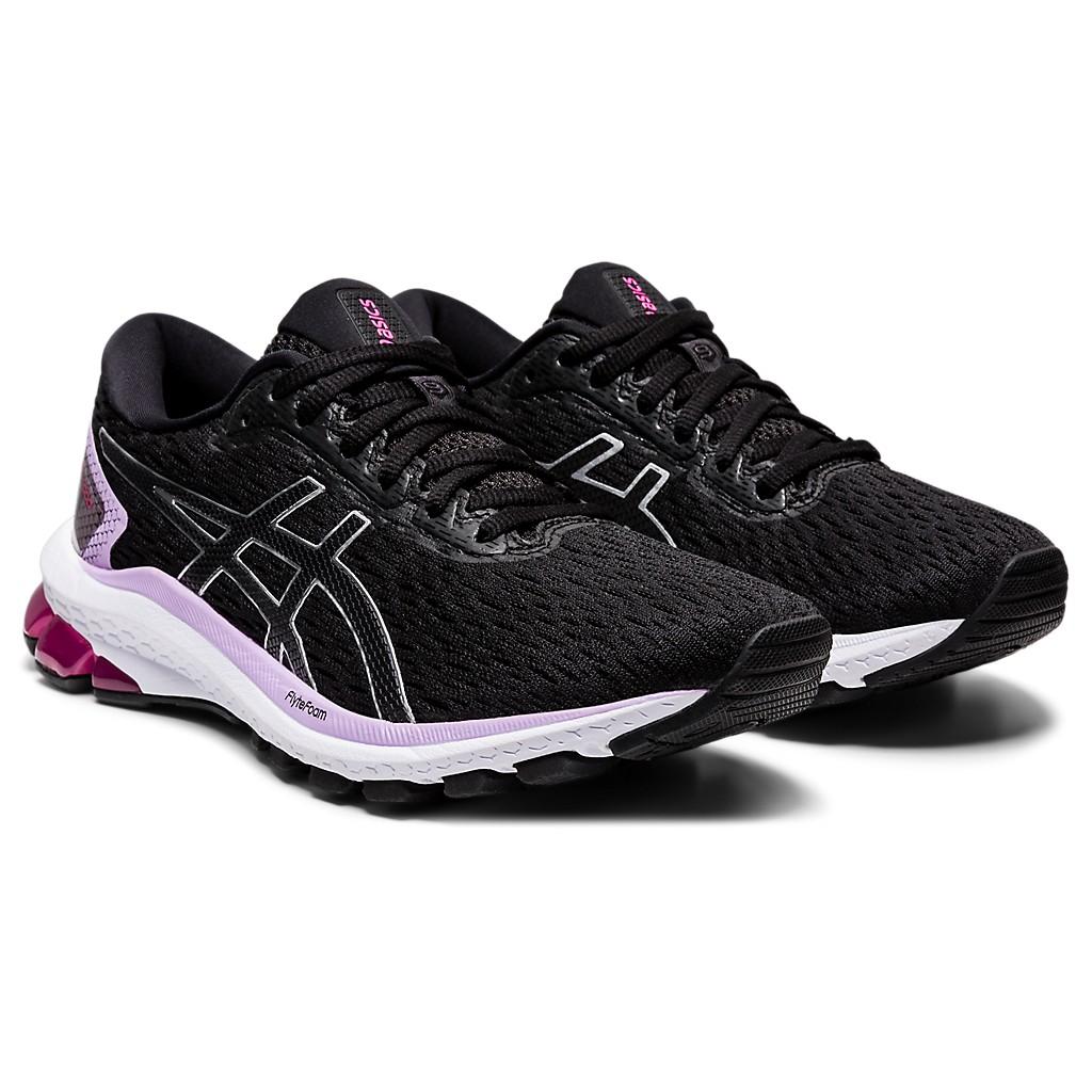 新款 ASICS (女)慢跑鞋 2020 GT-1000 9 (D) 寬楦 避震 支撐 1012A695-002 黑/紫