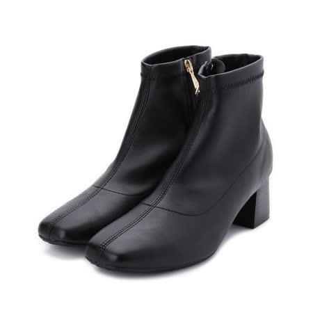 RIN RIN 素面方頭高跟短靴 黑 女鞋