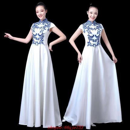 大合唱團演出服女青花瓷爆款新款中國風長款禮服年會表演服裝長裙舞會 晚會 婚慶 高端禮服