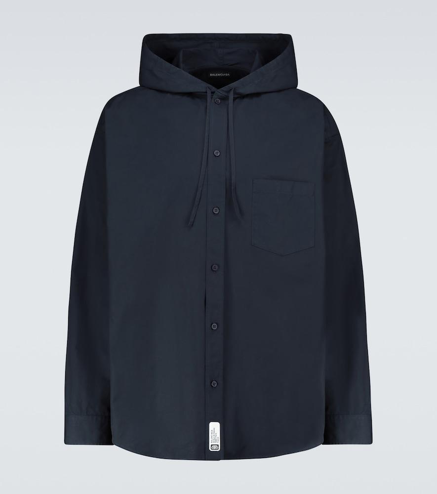 Hooded cocoon overshirt