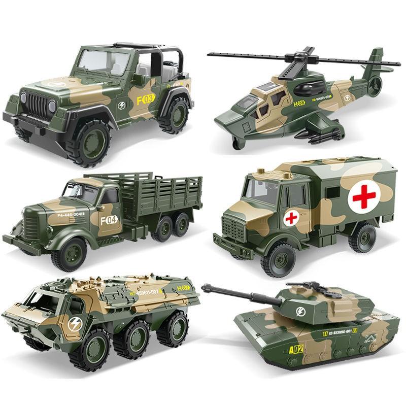 現貨兒童玩具車合金回力軍事車坦克玩具越野車救護車男孩汽車裝甲模型