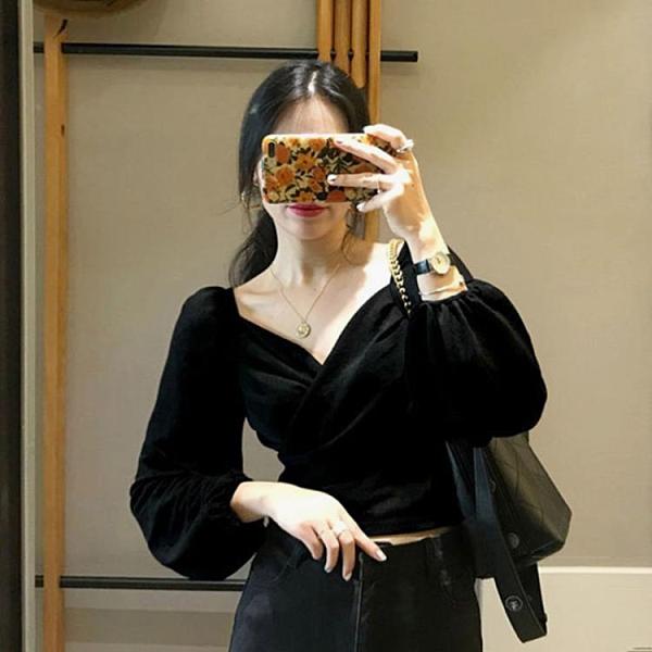 金絲絨上衣女復古港味設計感2020新款春秋季法式短款方領長袖襯衫