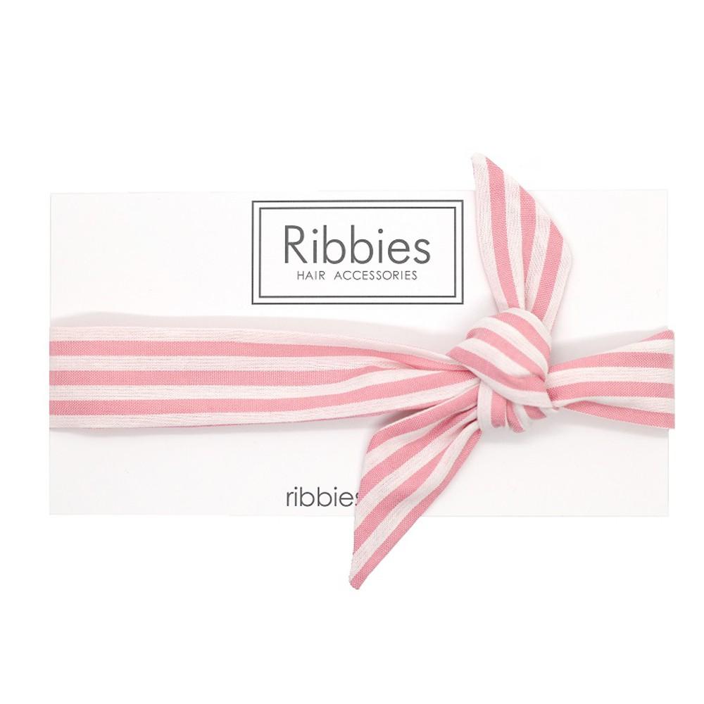 英國Ribbies 兒童蝴蝶結髮帶-粉紅白條紋