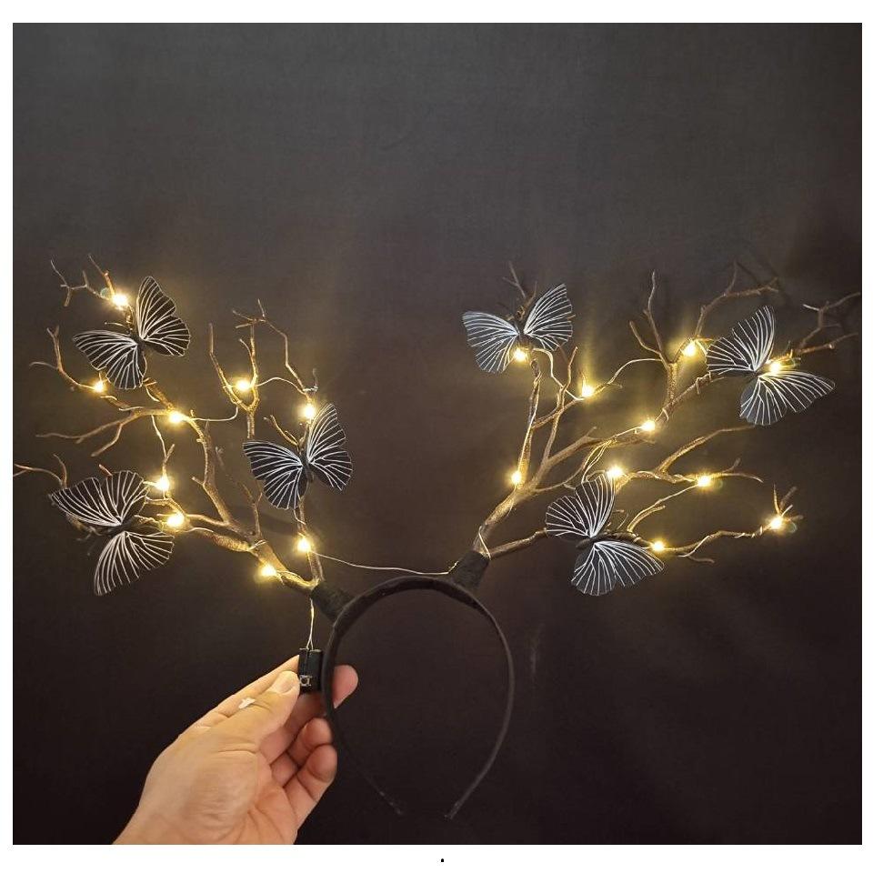 【滿減優惠 現貨速發】發光鹿角頭箍 新款聖誕節髮箍 仿真蝴蝶麋鹿頭飾