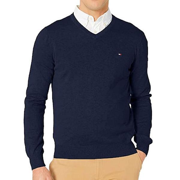 Tommy Hilfiger 經典V領毛衣(深藍色)