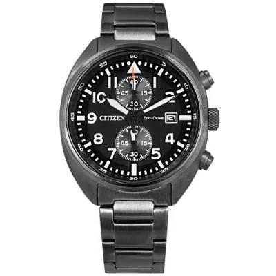 CITIZEN  光動能 計時碼錶 日期 防水100米 不鏽鋼手錶-鍍灰/42mm