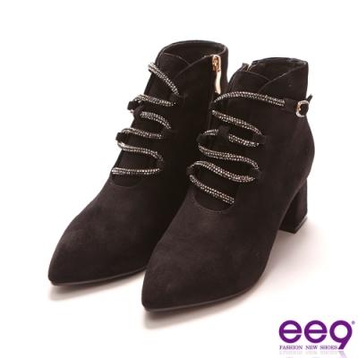ee9 迷人視覺鑲嵌璀璨亮鑽粗跟踝靴 黑色-6841382 10