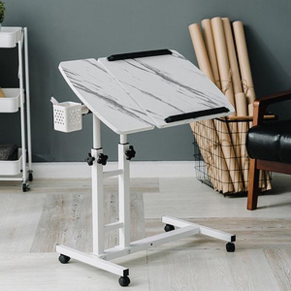 樂嫚妮 360度升降工作桌 懶人桌 電腦桌-深木紋大理石白