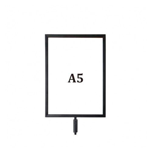 伸縮帶圍欄配件-鐵框標示牌 A5 黑色 標準型 / 組 RP-S51BK
