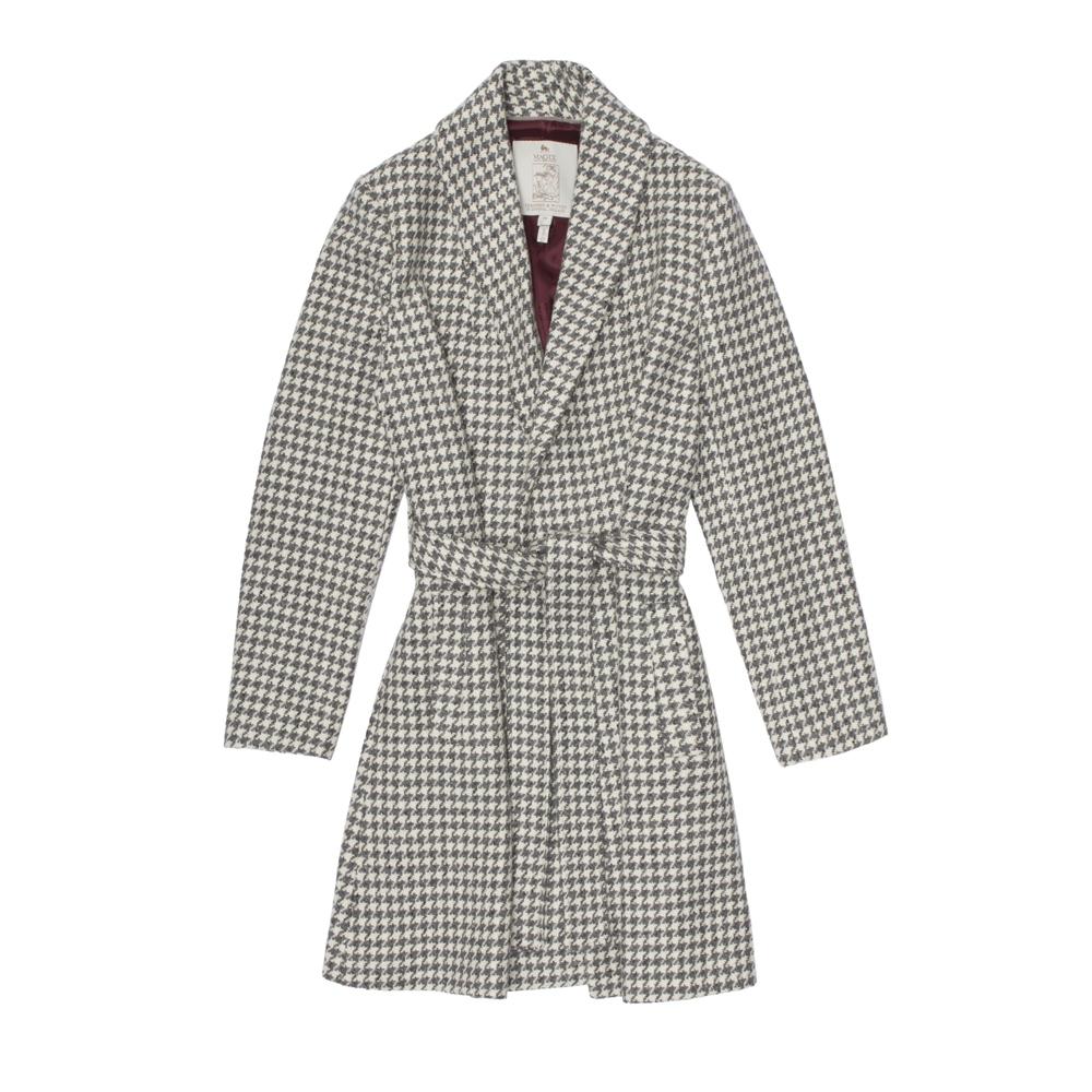 Magee 1866 Pewter & Vanilla Houndstooth Clooney Cardigan Coat