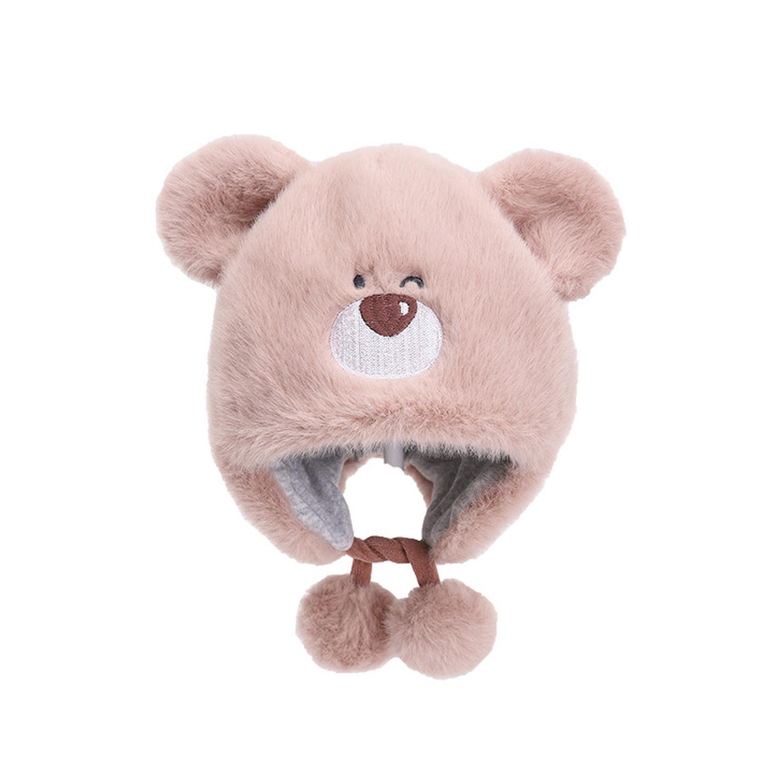 毛毛小熊球球帽-粉紅 (50CM(30M以下))