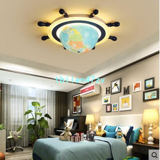 兒童房燈男孩 創意個性北歐燈間約現代船舵燈房間燈led臥室吸頂燈