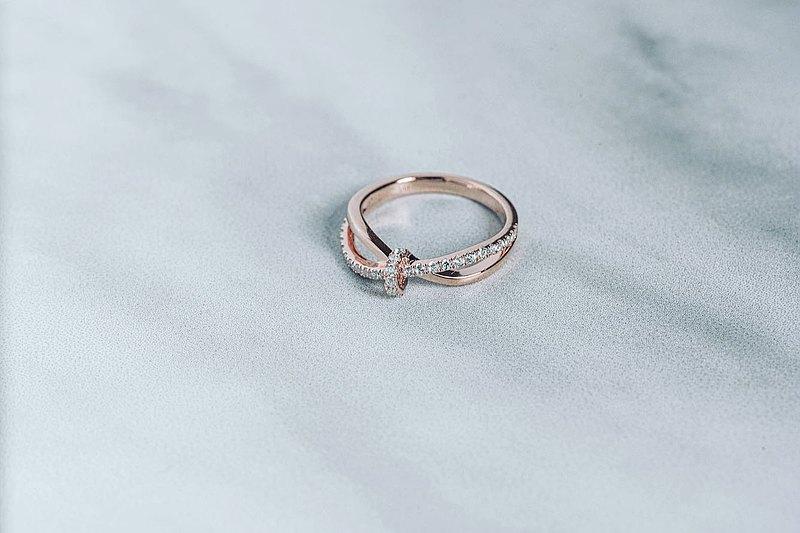【情人節禮物】Jill可人兒蝴蝶鑽戒 • 純銀戒指厚鍍18K金