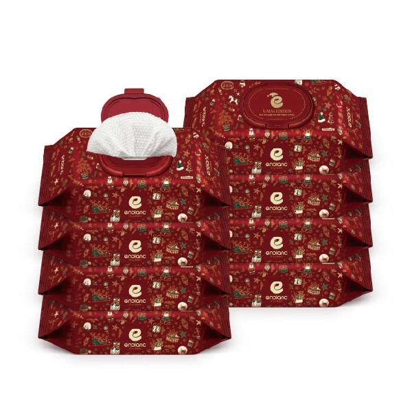 韓國 Enblanc 聖誕版銀離子輕柔純水有蓋大包濕紙巾-黑珍珠萃取物70抽8入|箱購【麗兒采家】