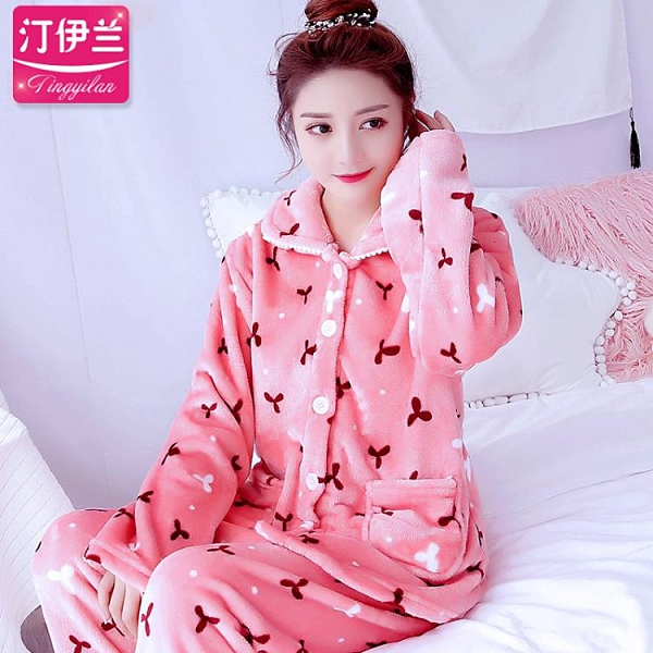 家居服 睡衣女士加厚春秋冬季法蘭絨家居服長袖保暖套裝珊瑚絨媽媽裝冬天 歐歐
