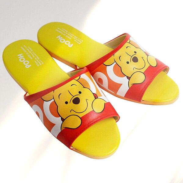 Disney 迪士尼正版授權 小熊維尼皮拖-俏皮 皮拖鞋 室內拖【蕾寶】