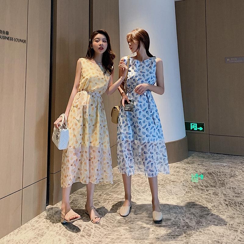 4.16新款2019新款韓版夏季修身收腰無袖印花背心裙中長款系帶連衣裙F7032
