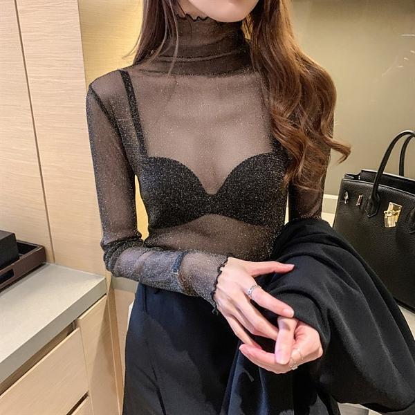 黑色蕾絲打底衫女網紗