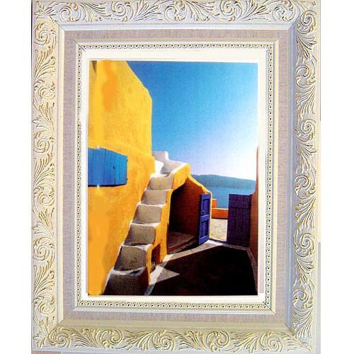 【中幅地中海藍加白風格】地中海風情6 希臘愛琴海風景畫壁飾 掛畫 50x40cm 有白/金框可選
